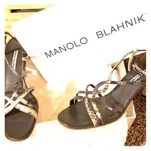 Manolo Blahnik Gray Snakeskin Heels